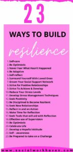 WAYS TO BUILD RESILIENCE IN SOCIAL WORK